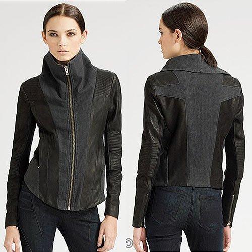 Helmut Lang Black-Out Leather/Denim Jacket