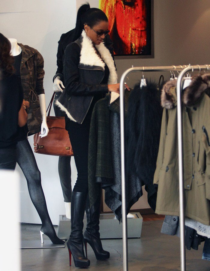 Ciara wearing Helmut Lang shearling jersey and leather jacket