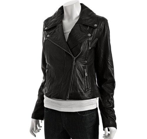 DKNY Black Leather Asymmetrical Zip Motorcycle Jacket