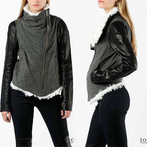 Helmut Lang shearling jersey and leather jacket