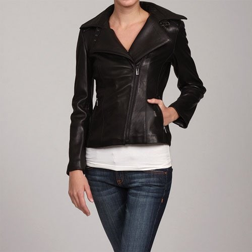 Jones New York Women's Black Leather Motorcycle Jacket