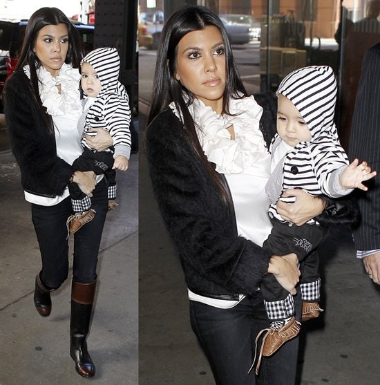 Kourtney Kardashian leaving her hotel with her baby son on October 13, 2010