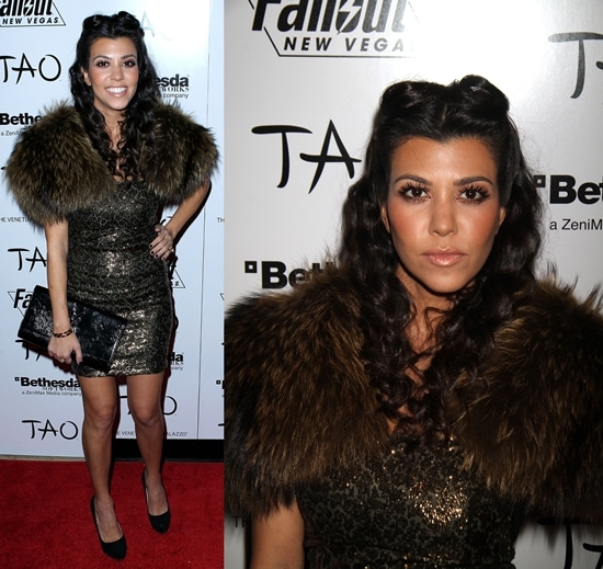 Kourtney Kardashian in Las Vegas to celebrate Kim Kardashian's 30th birthday with family and friends at the Tao nightclub inside The Venetian Resort on October 15, 2010