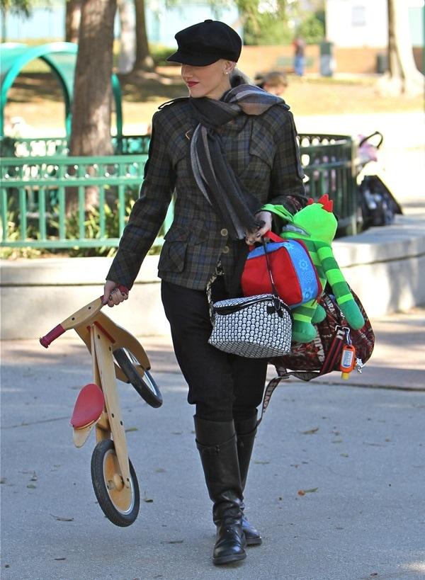 Gwen Stefani in a L.A.M.B. Military Plaid Blazer
