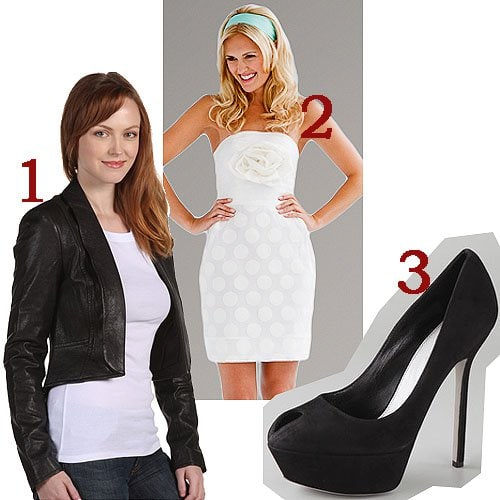 7 For All Mankind leather rumble jacket with white strapless dress and pumps