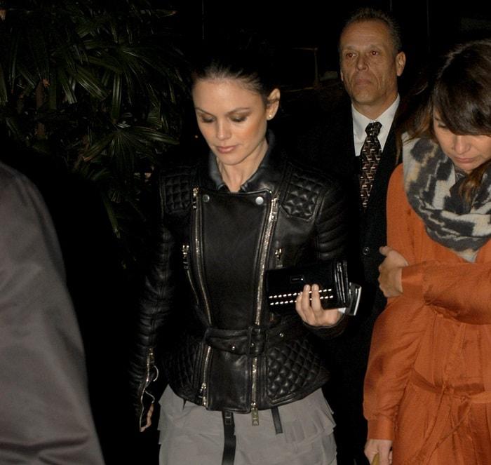 Rachel Bilson wearing a biker leather jacket from Burberry Prorsum