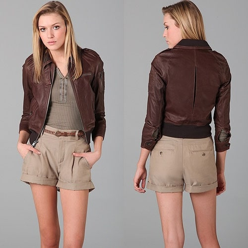 Bird by Juicy Couture Riley Vintage Leather Bomber Jacket