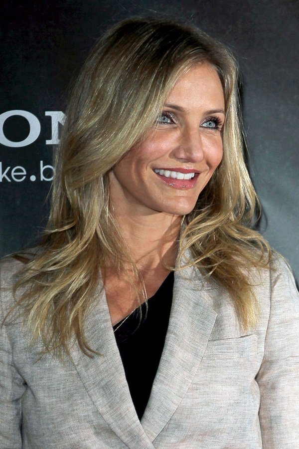 Cameron Diaz rocks her signature tousled blonde hairstyle