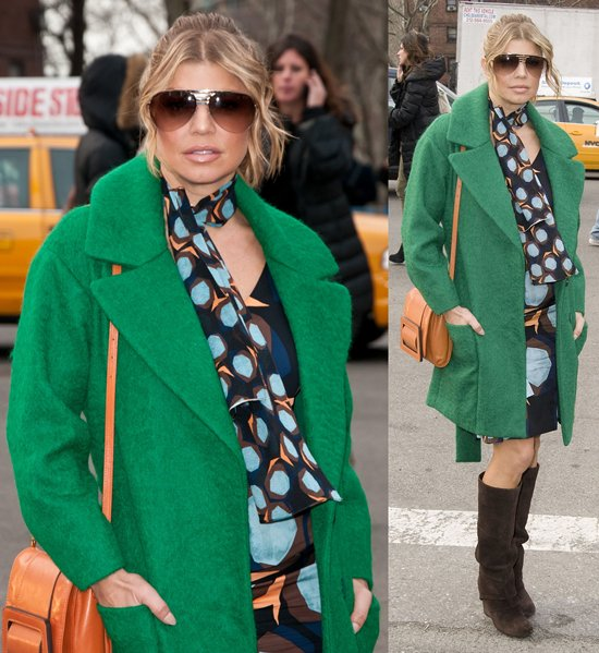 Fergie of the Black Eyed Peas is seen around Lincoln Center during Mercedes-Benz Fashion Week