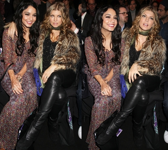 Actress Vanessa Hudgens (L) and singer Fergie attends the Anna Sui Fall 2011 fashion show during Mercedes-Benz Fashion Week