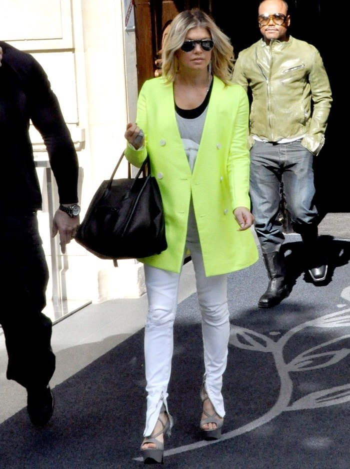 Fergie and the rest of the 'Black Eyed Peas' leaving the Hôtel Barrière Le Fouquet's in Paris