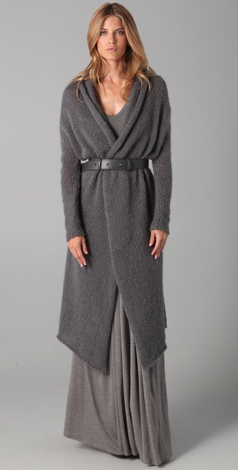 This mohair cardigan sweater features a shawl collar and an open placket