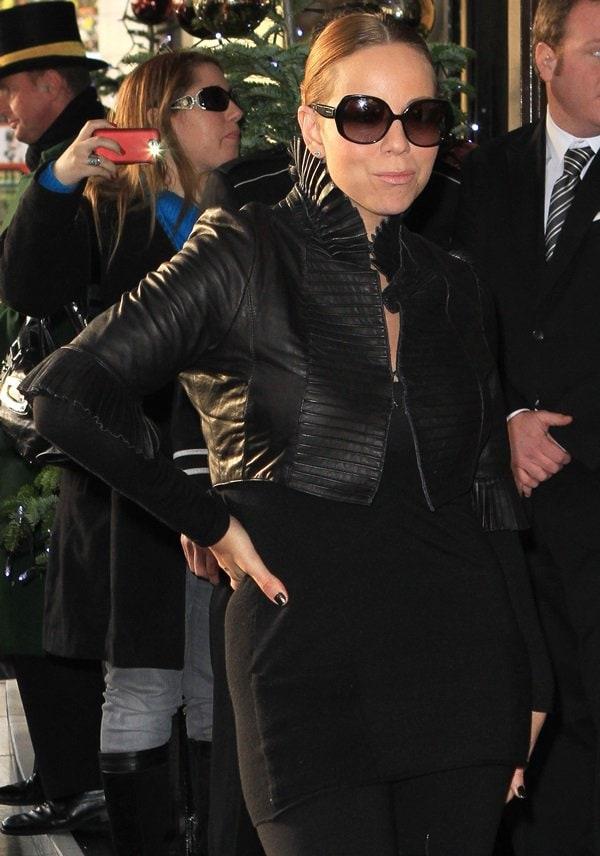 Mariah Carey at her hotel London on December 10, 2011