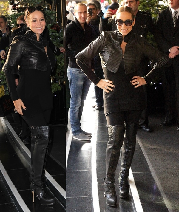 Mariah Carey looked great in her cropped leather jacket and thigh-high boots