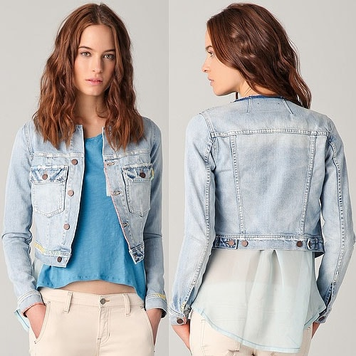 TEXTILE Elizabeth and James Embroidered Denim Jacket