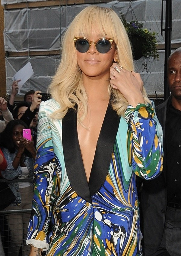 Rihanna was seen heading to the BBC Radio One Studios in London wearing a Stella McCartney printed blazer and not much else