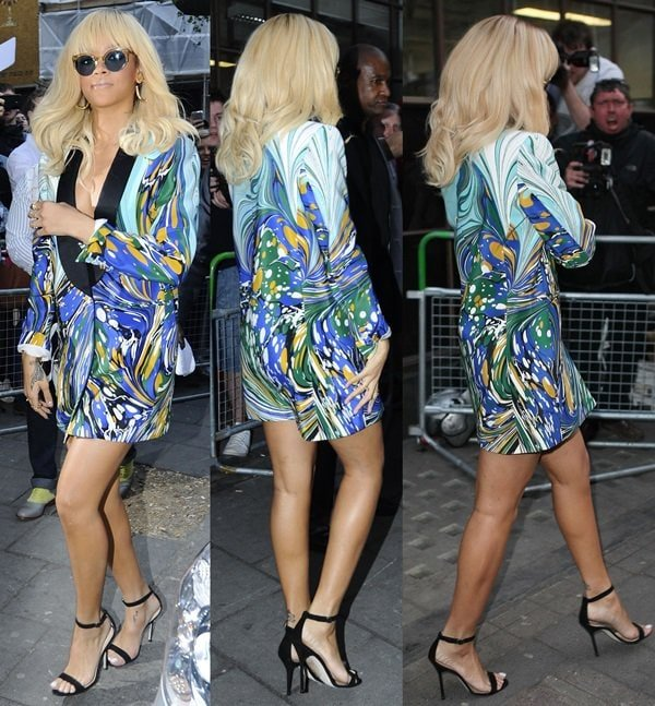 Rihanna leaving the Mandarin Hotel and headed to promote 'Battleship' at the BBC Radio One Studios in London, England on March 29, 2012