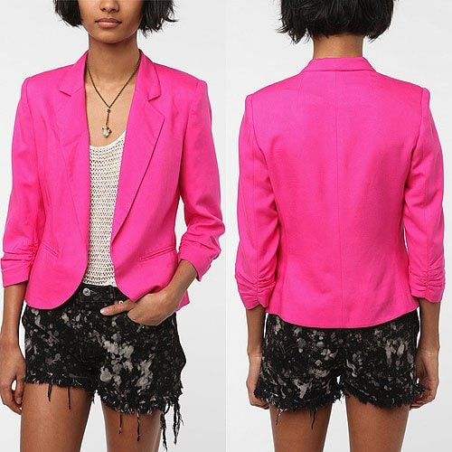 Sparkle & Fade Cropped Ruched Sleeve Blazer in Pink