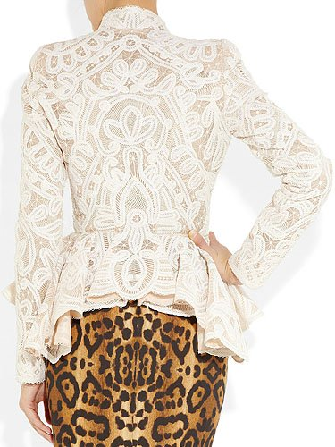 Alexander McQueen Crochet-Embroidered Silk-Organza Jacket