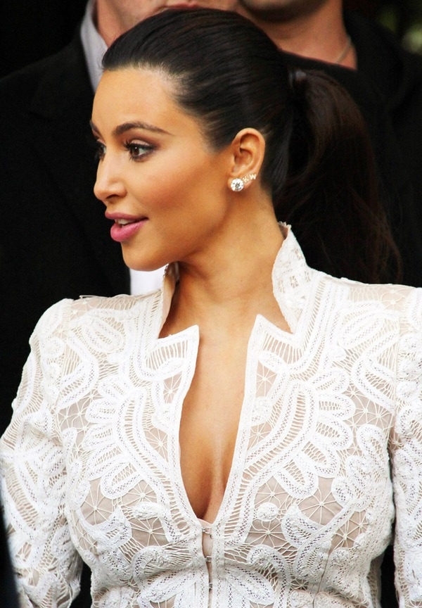 Kim Kardashian's Alexander McQueen crochet-embroidered silk-organza jacket