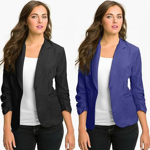 Olivia Moon Linen-Blend Blazer in Black and Blue Marine
