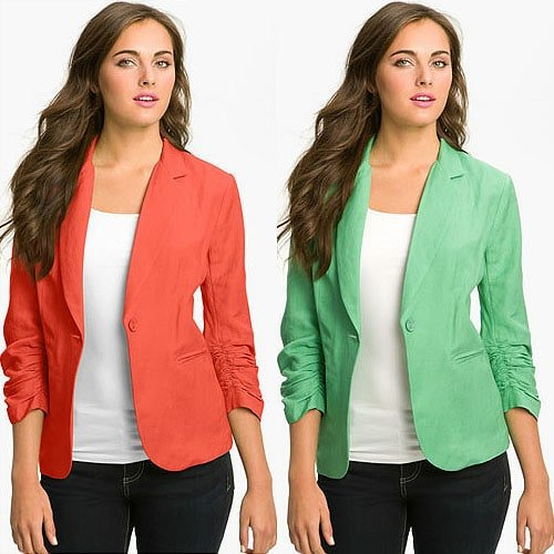 Olivia Moon Linen-Blend Blazer in Coral and Green