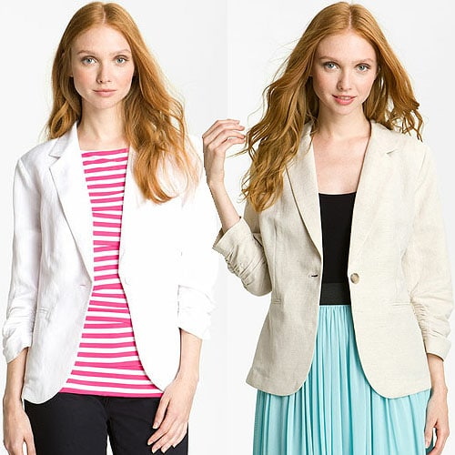 Olivia Moon Linen-Blend Blazer in White and Oatmeal