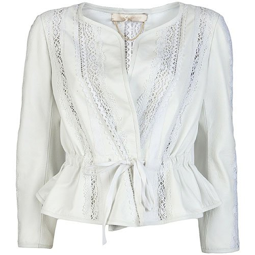 Vanessa Bruno Lace Insert Cropped Leather Jacket