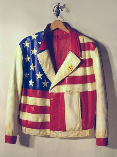 """American Jacket,"" carved wood and mixed media"