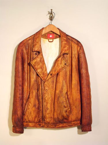 """Swiss Jacket,"" carved wood and oil stain"