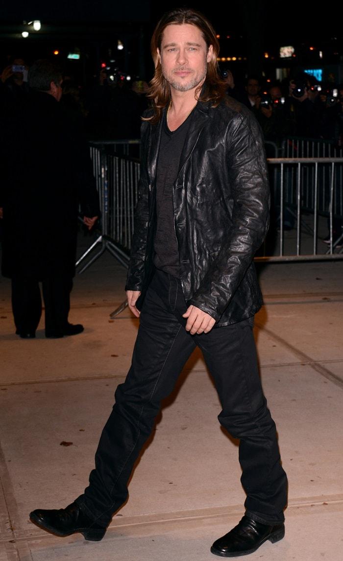 Brad Pitt at the New York premiere of 'Killing Them Softly' at the SVA Theatre, New York, New York, on November 26, 2012