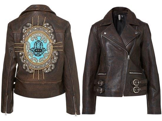 Embellished Hamsa Biker Jacket
