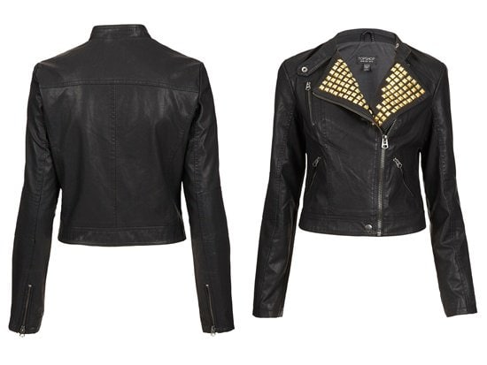 Gold-Studded Clean Biker Jacket