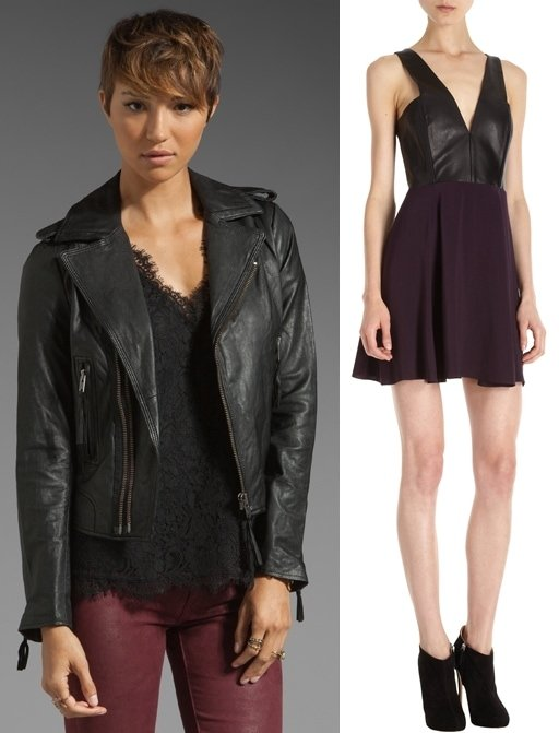 Joie Ailey Moto Leather Jacket and Mason by Michelle Mason Leather Bodice Dress