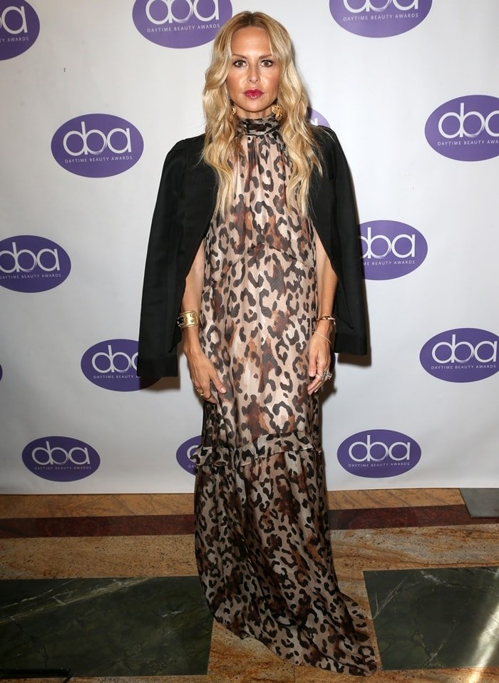 Stylist Rachel Zoe wears a black jacket with a leopard print dress at the 2019 Daytime Beauty Awards