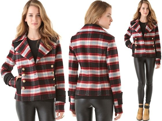 SMYTHE Plaid Pea Coat in Red/Black Plaid