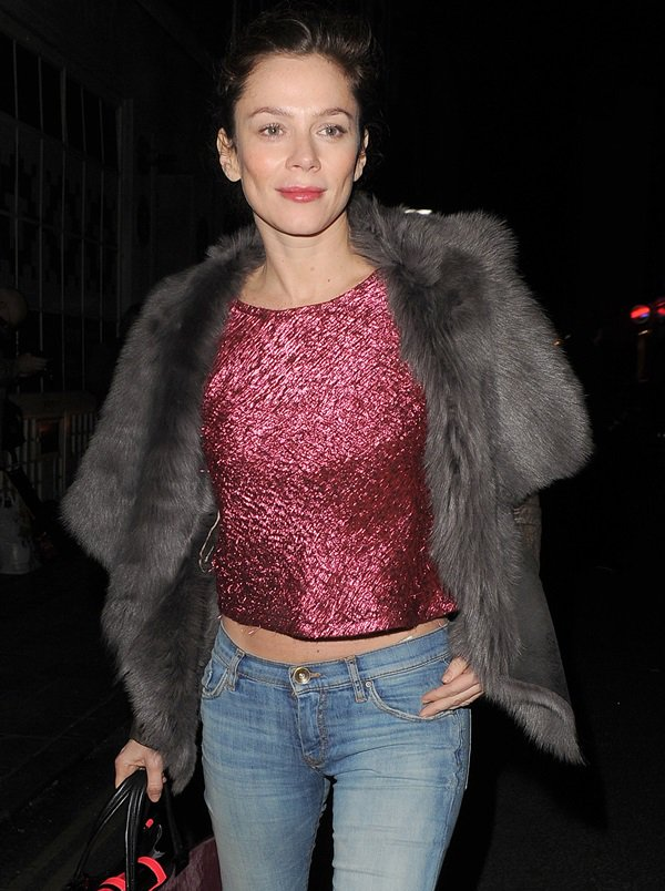 Anna Friel's metallic pink top made all the difference in balancing out the edginess of her leather and shearling leather jacket