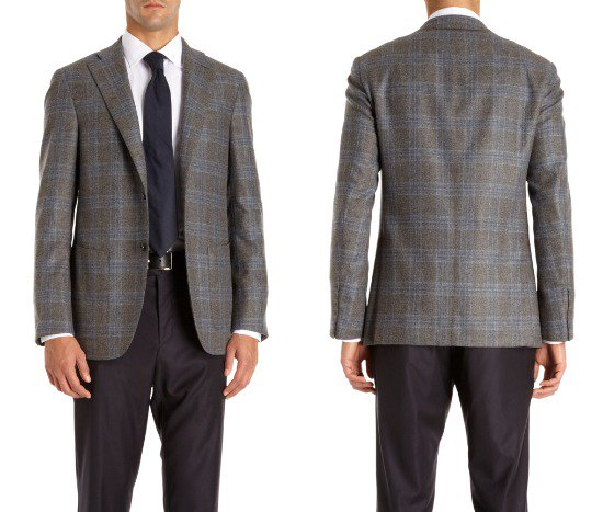 Barneys New York Two Button Check Jacket