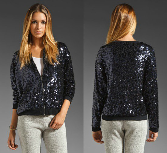 EIGHT SIXTY Sequin Bomber Jacket
