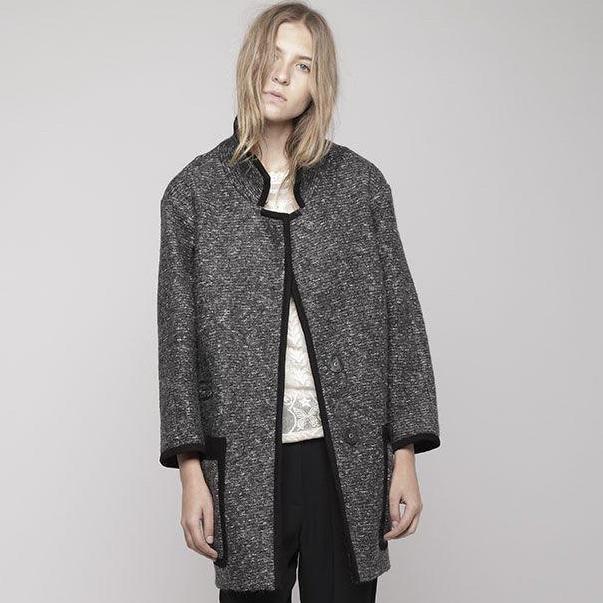 Isabel Marant Tweed Khan Coat in Gray