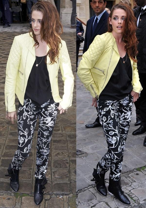 Kristen Stewart attends the Balenciaga Spring / Summer 2013 show in Paris