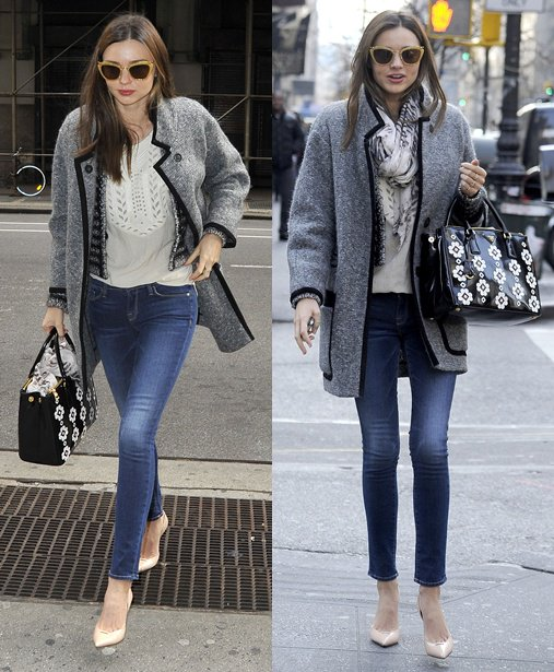 Miranda Kerr in Manhattan wearing skinny jeans and high heels