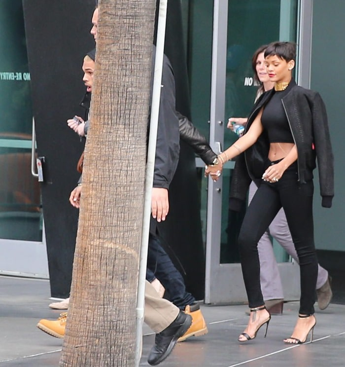 Rihanna and Chris Brown leave the Staples Centre together