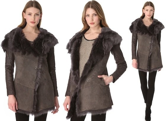 Muubaa Isabela Shearling Coat in Storm Gray