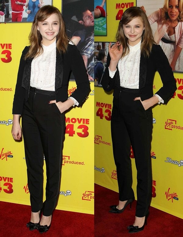 Bubbly Chloe Moretz wore a black tuxedo jacket with embroidered satin lapels, which she paired with a ruffled bib blouse and tapered pants