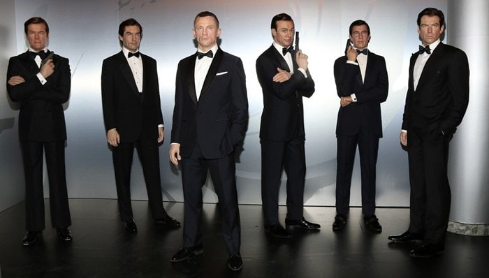 Wax figures of Roger Moore, Timothy Dalton, Daniel Craig, Sean Connery, George Lazenby and Pierce Brosnan as Madame Tussauds unveils seven different James Bond wax figures at Madame Tussauds in Berlin