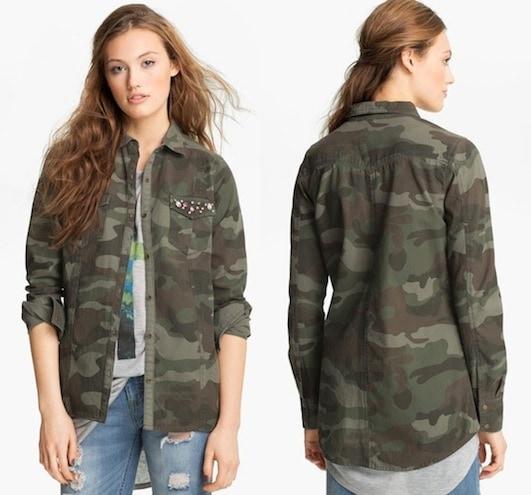 Elodie Embellished Army Jacket in Olive