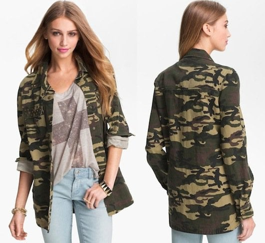 Lush Studded Camo Print Army Jacket in Green