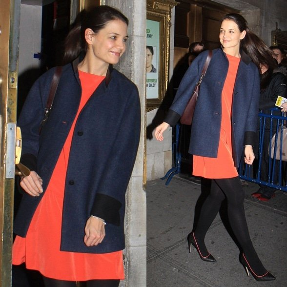 Katie Holmes leaves the Music Box theater with only a few days left before her play 'Dead Accounts' ends, one month earlier than expected due to poor sales Featuring: Katie Holmes Where: New York City, United States When: 03 Jan 2013