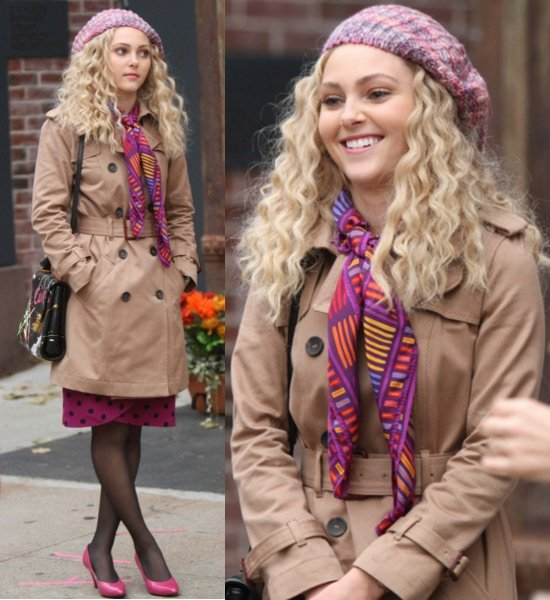 AnnaSophia Robb shooting on location for CW's 'The Carrie Diaries' in New York City on October 26, 2012